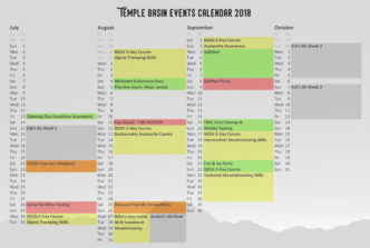 Temple Basin Events calendar 2018